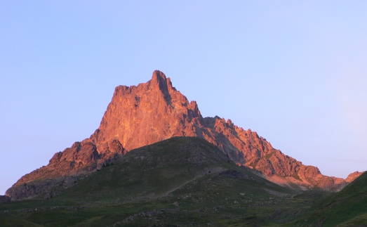 Sunset lights up the Pic du Midi d'Ossau