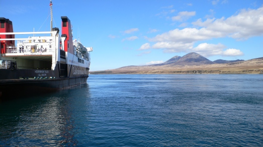 The Hebridean Princess at Port Askaig withthe Paps of Jura across the Sound of Islay