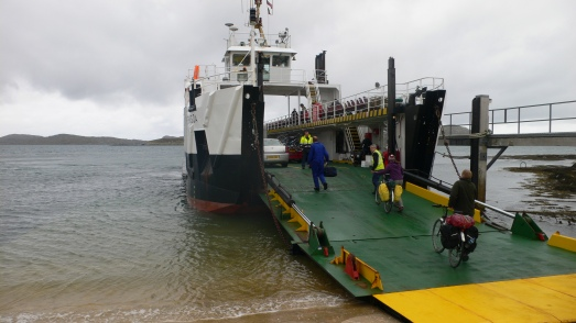 Cyclists boarding the Barra - Eriskay ferry